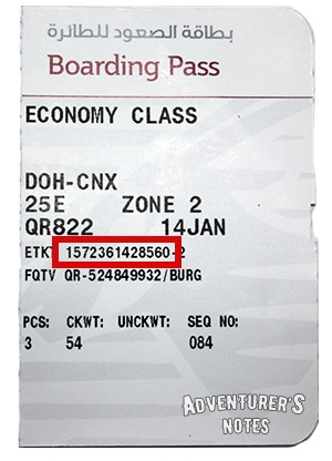 The Internet access code on the boarding pass
