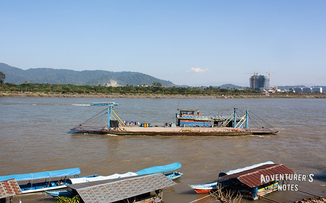 The ferry across Mekong river