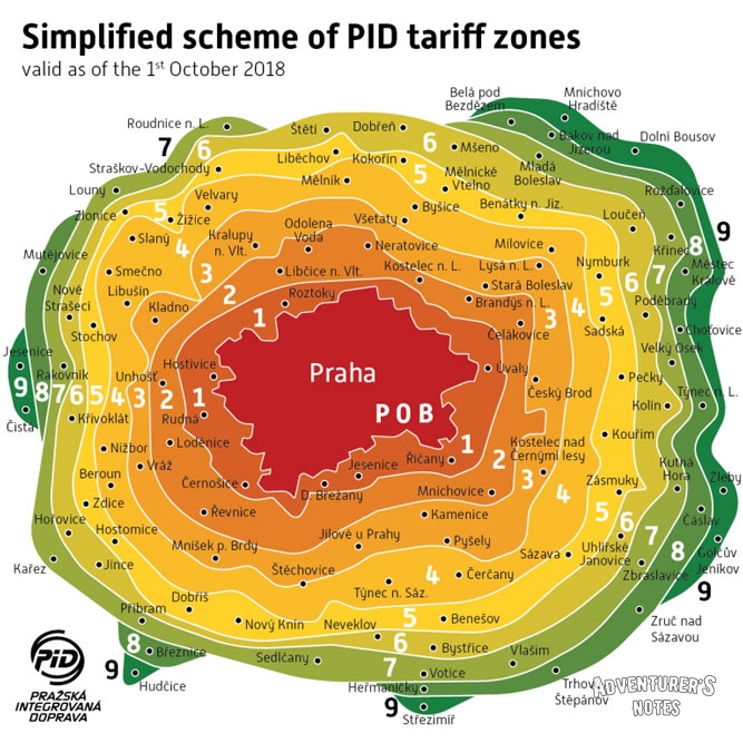 The scheme of tariff zones in Prague